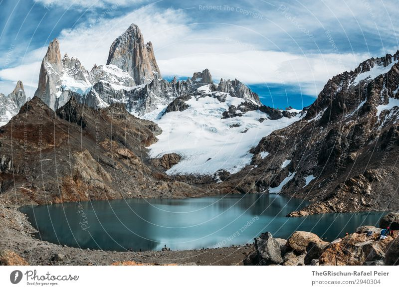Fitz Roy - Laguna de los tres Nature Landscape Blue Turquoise White Fitz Roy mountain Water Stone Mountain Argentina Patagonia Hiking Glacier Climbing Valued