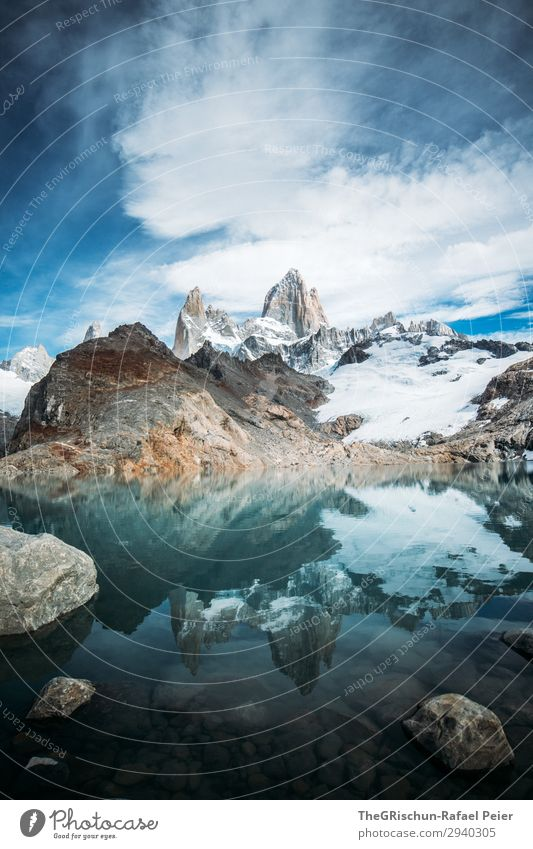 Nature Blue White Clouds Mountain Stone Lake Hiking Discover Impressive Argentina Lagoon Fitz Roy mountain