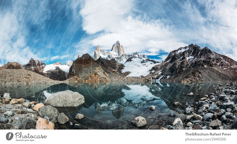 Fitz Roy - Laguna de los tres Nature Blue Turquoise White Fitz Roy mountain Lagoon Stone Reflection Panorama (Format) Panorama (View) Mountain Lake Patagonia