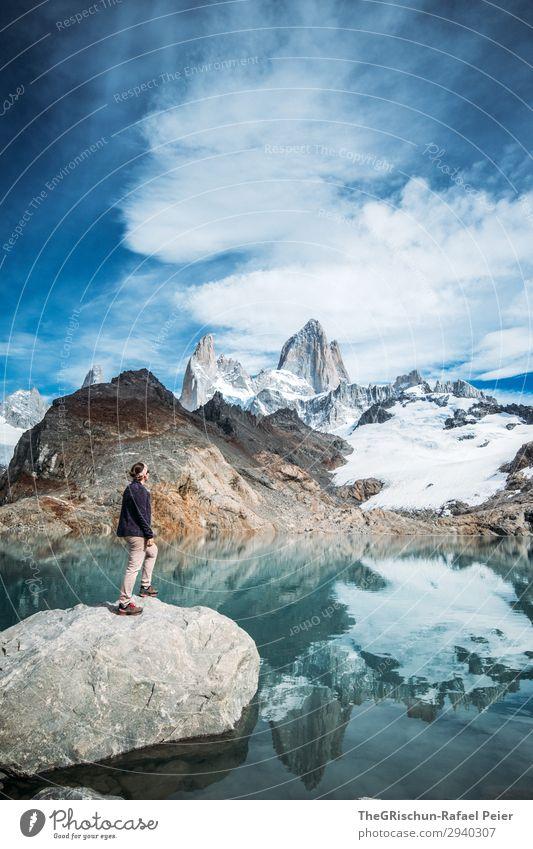 Fitz Roy - Laguna de los tres Nature Blue Turquoise White Fitz Roy mountain Mountain Lagoon Lake Cold Reflection Woman Posture Climbing Snow Fantastic Stone