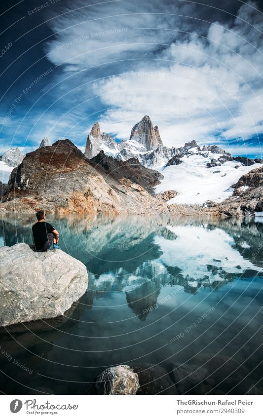 Laguna de los tres - Fitz Roy Nature Blue Gray Black Turquoise White Lagoon lagoon de los tres Fitz Roy mountain Man Marvel Relaxation To enjoy Stone Stony
