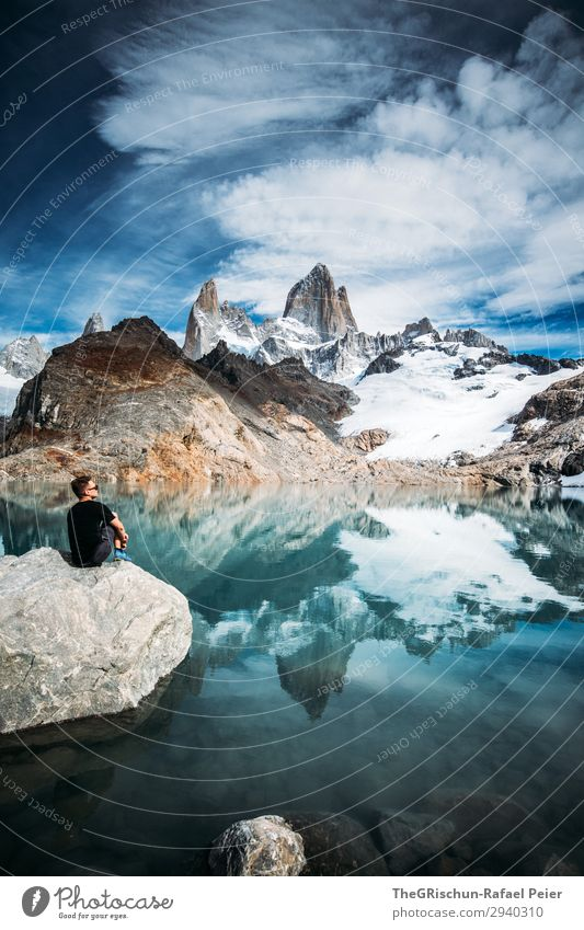 Fitz Roy - Laguna de los tres Nature Blue Turquoise White Fitz Roy mountain Reflection Mountain Lake Lagoon Argentina Patagonia el chalten Snow Stone To enjoy