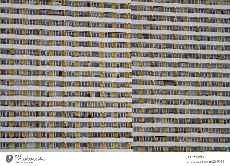City Window Building Facade Together Living or residing Gloomy Modern High-rise Concrete Stripe Culture Level Balcony Creepy Society