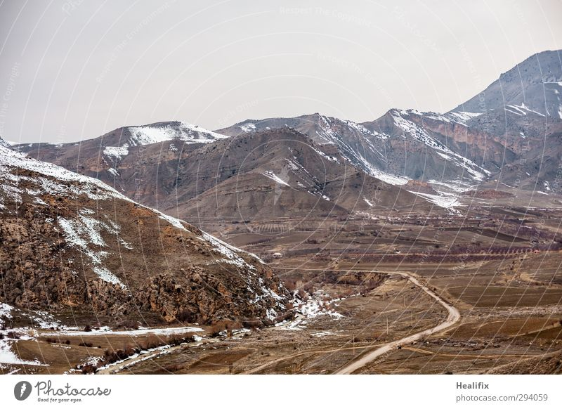 emptiness Environment Nature Landscape Winter Bad weather Ice Frost Snow Hill Mountain Peak River Armenia Traffic infrastructure Road traffic Motoring Street