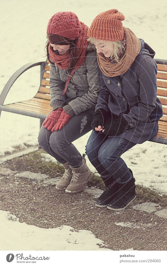 Human being Youth (Young adults) Red Joy Winter Young woman Adults Snow Feminine Laughter Lanes & trails Funny 18 - 30 years Sand Friendship Together