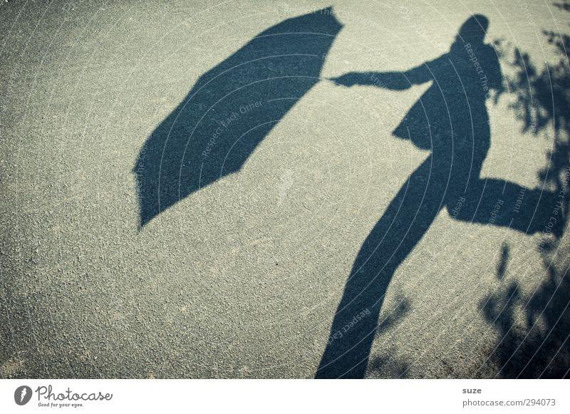 Shadow Rainman. Human being 1 Environment Weather Beautiful weather Traffic infrastructure Pedestrian Street Lanes & trails Umbrella Movement Walking Funny Gray