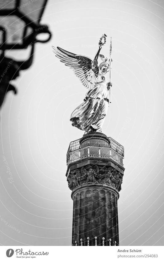 berlin. Lifestyle Elegant Art Sculpture Capital city Places Manmade structures Contentment Victory column Berlin Black & white photo Exterior shot Deserted