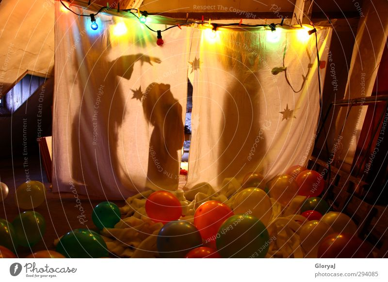 shadow play Joy Playing Children's game Interior design Attic Infancy 3 Human being Yellow Pink White Happy Happiness Dream Stars Stage set Shadow play