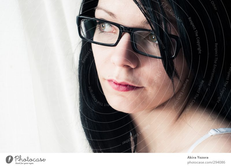 Framed view Feminine Face 1 Human being 18 - 30 years Youth (Young adults) Adults Eyeglasses Black-haired Long-haired Observe Looking Sharp-edged Modern Retro