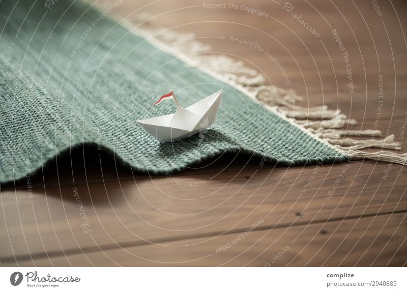 Paper ship on carpet waves Healthy Leisure and hobbies Playing Handicraft Model-making Vacation & Travel Trip Adventure Far-off places Cruise Summer vacation
