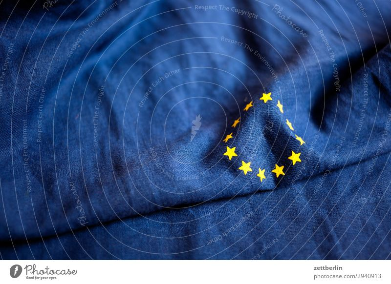 Europe Cotton Blue brexite Design European flag Flag Wrinkles Yellow Cloth Gold Circle Star (Symbol) Symbols and metaphors Textiles Landmark Deserted Copy Space