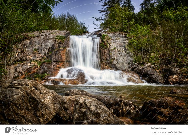 Small waterfall Contentment Relaxation Calm Trip Hiking Nature Landscape Water Spring Summer Beautiful weather Plant Tree Bushes Rock Brook Waterfall Discover