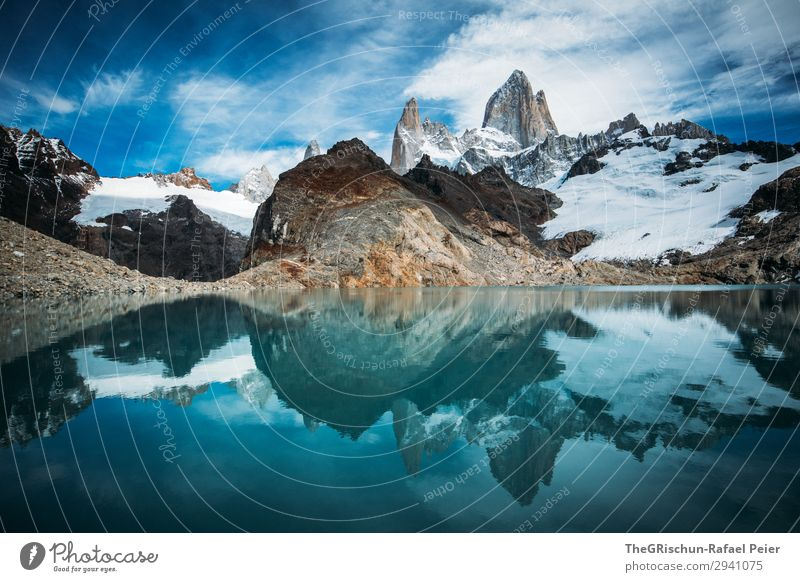 Fitz Roy - Laguna de los tres Nature Blue Turquoise White Fitz Roy mountain Reflection Mountain Hiking Climbing Monstrous Fantastic Water Mountain lake Glacier