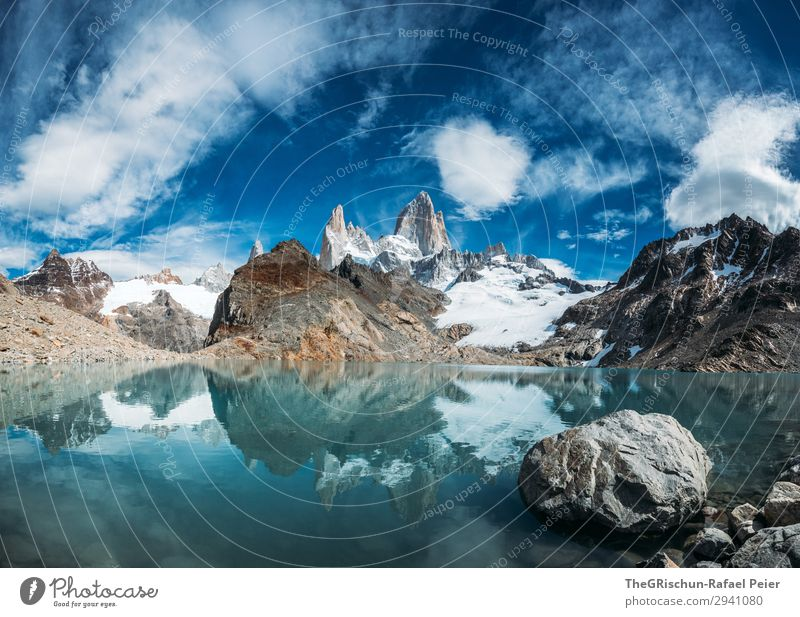 Fitz Roy - Laguna de los tres Nature Blue Turquoise White Fitz Roy mountain Stone Water Lake Coast Mountain Peak Glacier Reflection Snow Hiking Argentina