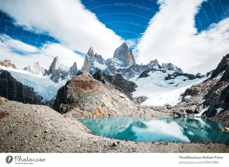 Fitz Roy - Laguna de los tres Nature Landscape Blue Gray Black Turquoise White Lake Mountain lake Lagoon Fitz Roy mountain Peak Sun Reflection Hiking