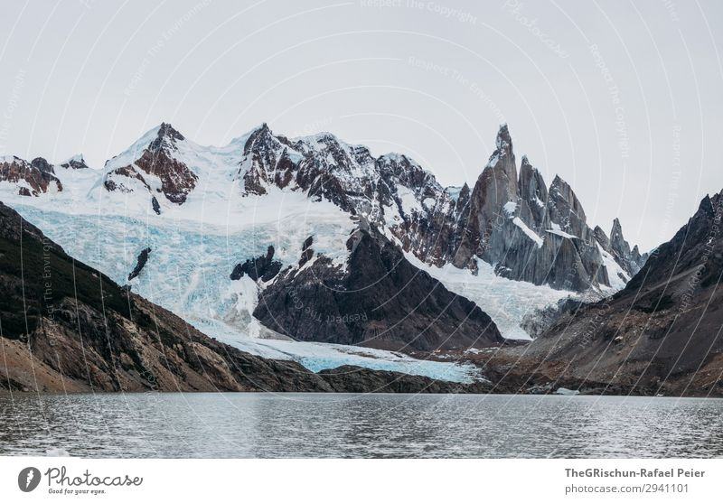 mountain lake Nature Gray White Cerro Torre Lagoon Lake Glacier Mountain lake Wall of rock Water Cold Patagonia Argentina South America Hiking Colour photo