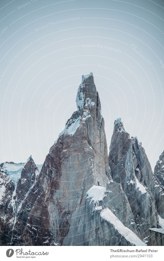 cerro torre - el chaltén Nature Gray White Cerro Torre Mountain Wall of rock Climbing Ice Snow Stone Crack & Rip & Tear Structures and shapes Argentina Landmark