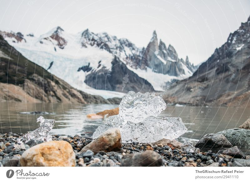 Ice sculpture Nature Esthetic White Transparent Water Stone Cerro Torre Ice floe Cold Wet Mount up Colour photo Exterior shot Deserted Copy Space middle Day