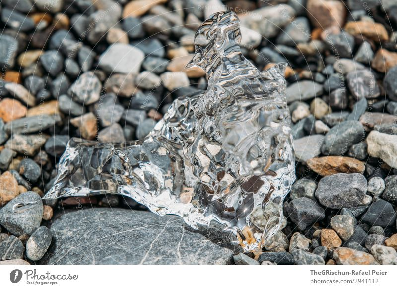 Transparent Nature Gray Black White Ice Structures and shapes Stone Melt Water Block of ice Reflection Colour photo Exterior shot Deserted Copy Space bottom Day