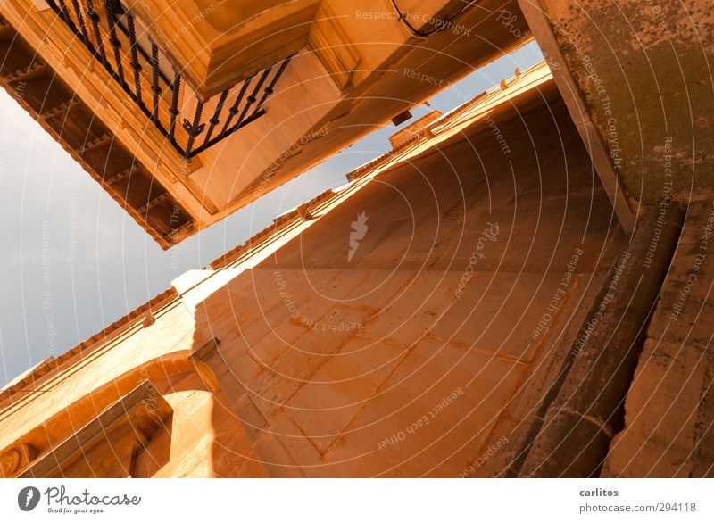 Summer Wall (building) Warmth Architecture Wall (barrier) Building Facade Perspective Church Esthetic Handrail Manmade structures Cloudless sky