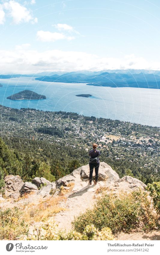 prospect Nature Landscape Blue Vantage point Forest Panorama (View) bariloche Lake Argentina Patagonia South America Human being Marvel To enjoy