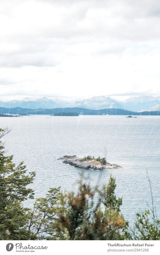 Bariloche Nature Landscape Blue White Lake Argentina bariloche Island Tree Mountain Clouds Far-off places Vantage point Colour photo Deserted Copy Space top
