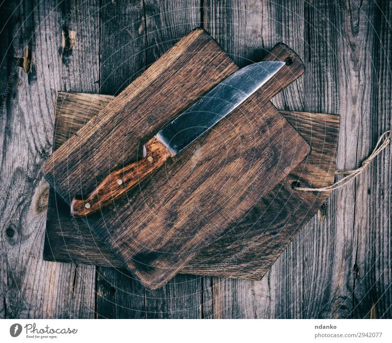 old wooden cutting boards and a knife Old White Wood Natural Brown Above Design Retro Dirty Kitchen Rustic Tool Surface Ancient Consistency Rough