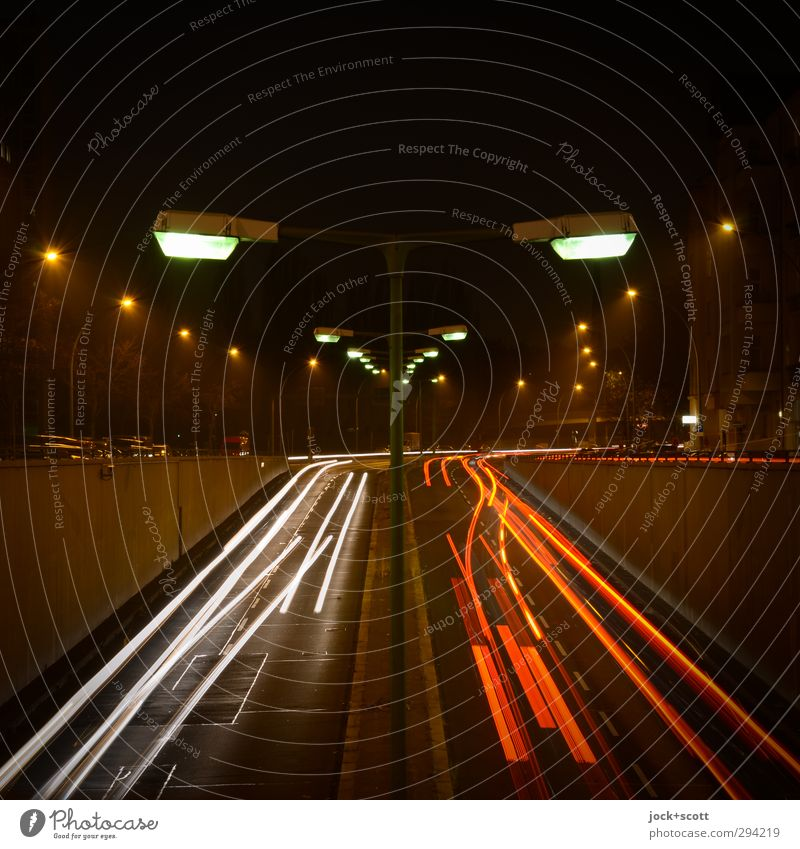Up and away Winter Traffic infrastructure Road traffic Street Street lighting Car Line Driving Illuminate conceit chill Gloomy Moody Flexible Speed Mobility