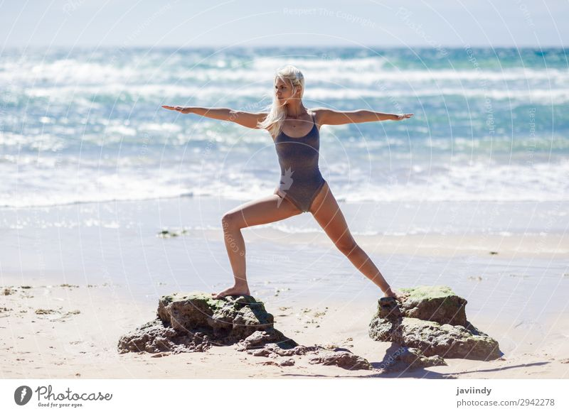 Caucasian blonde woman practicing yoga in the beach Woman Human being Sky Nature Youth (Young adults) Young woman Summer Beautiful Ocean Relaxation Beach