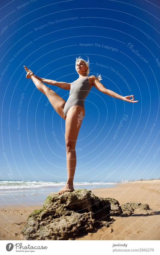 Caucasian blonde woman practicing yoga in the beach Woman Human being Sky Nature Youth (Young adults) Young woman Summer Beautiful Tree Ocean Relaxation Beach