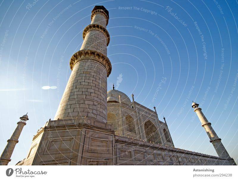 TAJ I Sky Cloudless sky Weather Beautiful weather Agra India Asia Town Palace Tower Gate Manmade structures Building Architecture Wall (barrier) Wall (building)