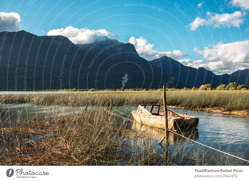 Peulla Nature Blue Brown Watercraft Mountain peulla Chile Patagonia Lake Coast Common Reed Clouds Shadow Colour photo Exterior shot Deserted Copy Space top