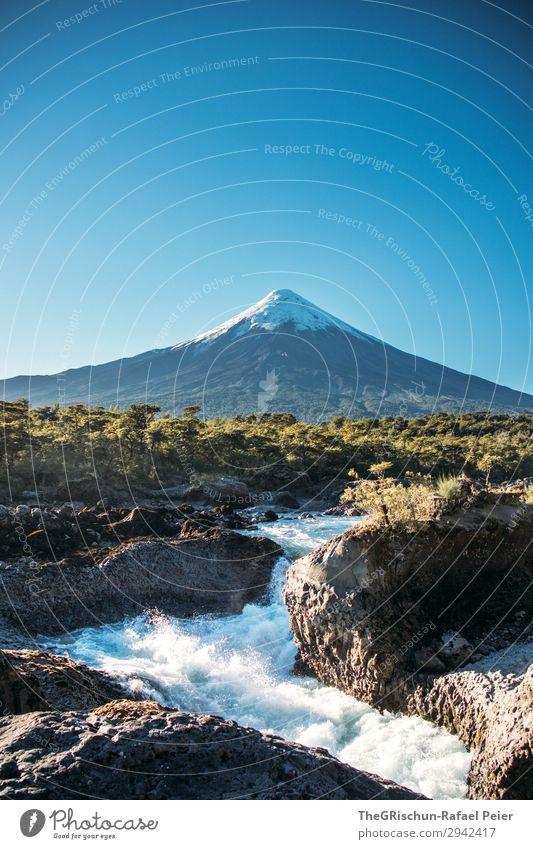 Saltos del petrohue - volcan Osorno Nature Landscape Blue White Waterfall Volcano Snow Point Freshwater Rock Stone Lava Osorno volcano Sky Snowcapped peak