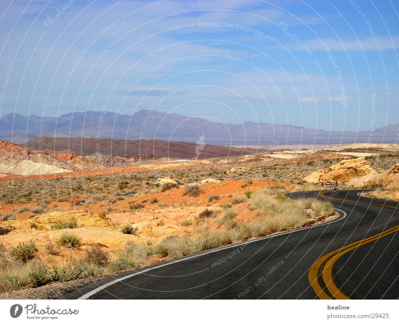beaolli firevalley Sky blue Steppe Badlands Mountain range Grass Tuft of grass Hot Valley of fire National Park Bushes Desert Street Curve Sand Mojave Empty