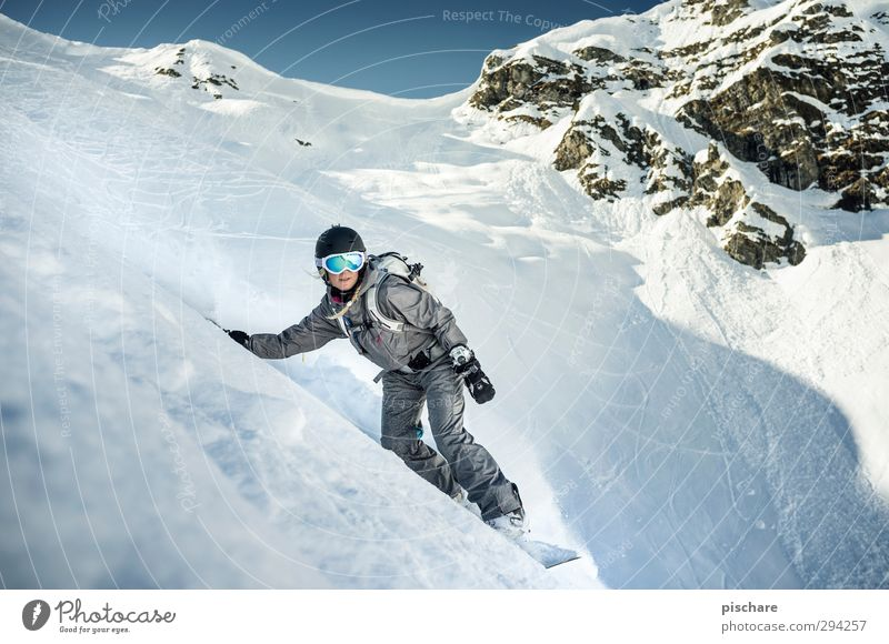 Winter Mountain Snow Sports Rock Leisure and hobbies Beautiful weather Adventure Touch Athletic Passion Downward Snowscape Steep Snowboard Winter sports