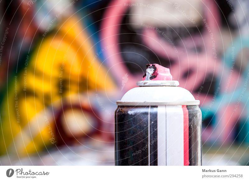 Spray can Graffiti Lifestyle Design Art Wall (barrier) Wall (building) Cool (slang) Yellow Gray Pink Black White Dye Varnish Vandalism Image Colour photo