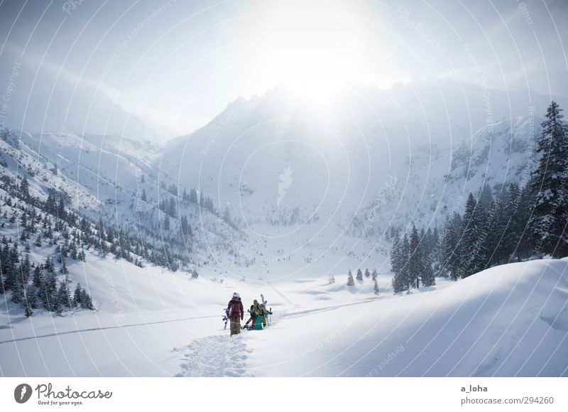 Sky Nature Vacation & Travel Sun Tree Landscape Clouds Winter Environment Snow Sports Lifestyle Group Rock Walking Beautiful weather