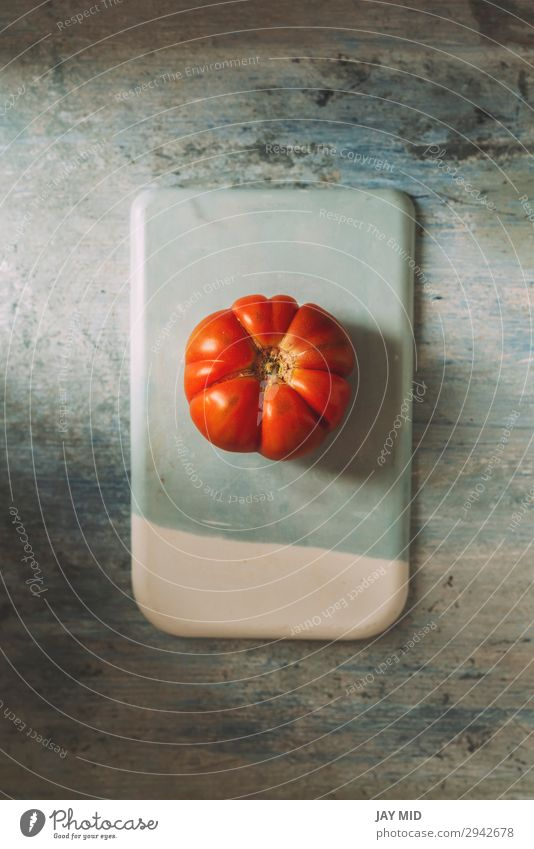 Fresh red Marmande RAF red tomatoes on stone table Food Meat Vegetable Fruit Nutrition Organic produce Vegetarian diet Diet Garden Table Nature Natural Clean