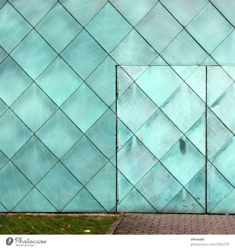 Wall (building) Architecture Wall (barrier) Building Line Facade Door Manmade structures Turquoise Square Patch