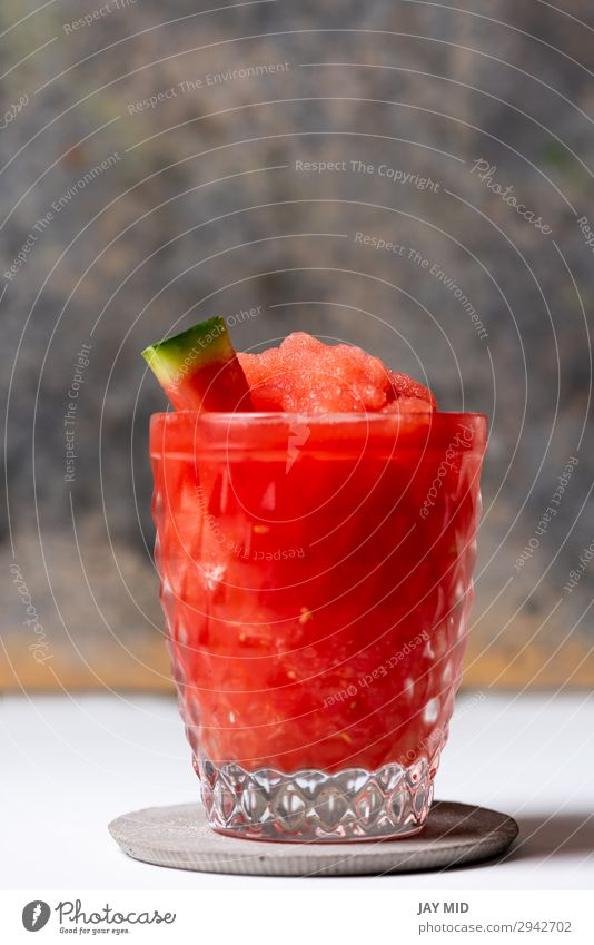 Frozen Watermelon Daiquiri Food Fruit Nutrition Cold drink Juice Alcoholic drinks Summer Fresh Red White daiquiri Water melon Cocktail Rum Home Sugar background