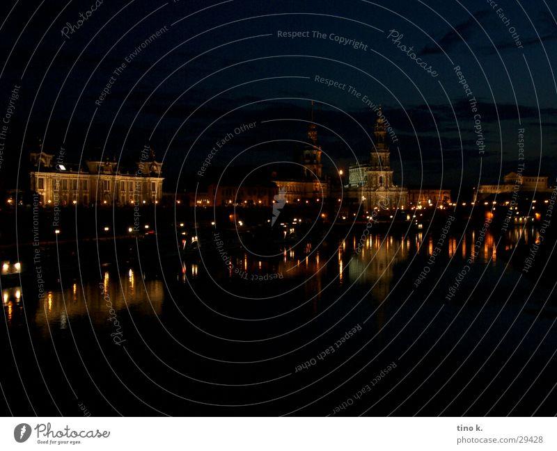 Architecture Facade Copy Space Large Romance Illuminate Old town Dresden Elbe Night shot Water reflection City light Brühlsche Terrasse
