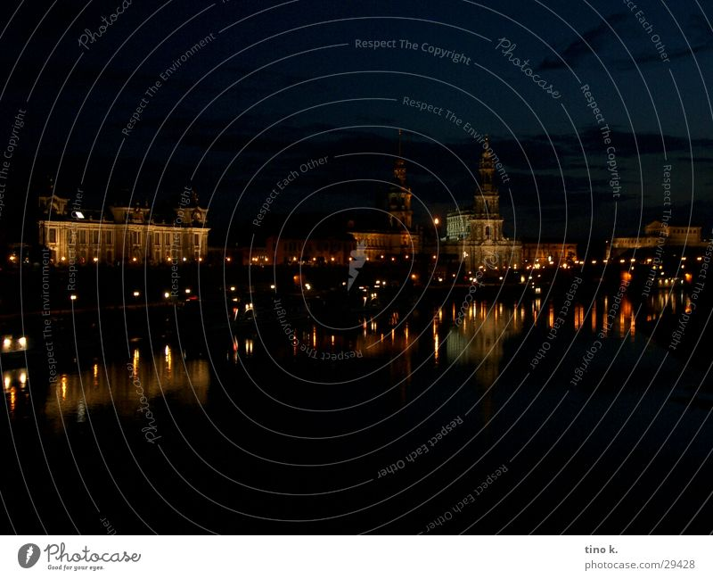 Dresden@Night Reflection Panorama (View) Long exposure Architecture Old town Elbe Large Water reflection Silhouette Night shot Copy Space Exterior shot