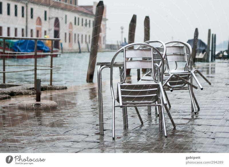 abundance Chair Table Winter Weather Bad weather Rain River bank Channel Venice Port City Places Wet Gray Tourism Gastronomy Break Deluge Subdued colour