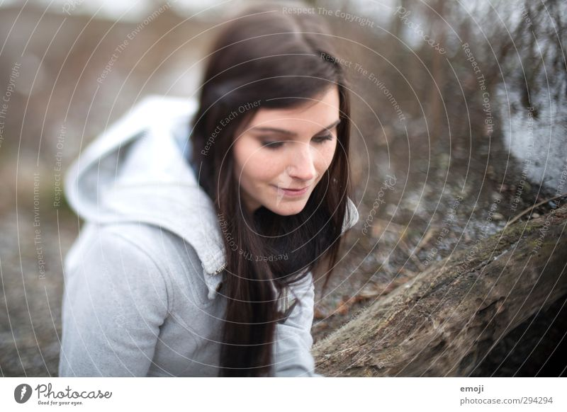 lakeside Feminine Young woman Youth (Young adults) 1 Human being 18 - 30 years Adults Brunette Long-haired Beautiful Gray Colour photo Subdued colour