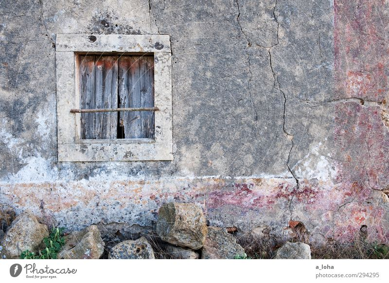 the window to a strange world Village Old town Deserted House (Residential Structure) Ruin Wall (barrier) Wall (building) Window Stone Concrete Wood Line