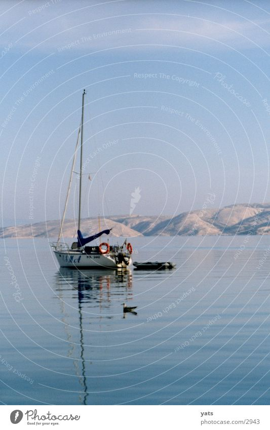 Boat with seagull, 7 in the morning Croatia Watercraft Ocean Calm Morning