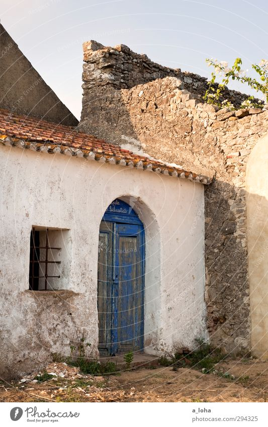 Blue Old White Loneliness Window Dark Wall (building) Wall (barrier) Religion and faith Door Idyll Church Transience Historic Belief Village