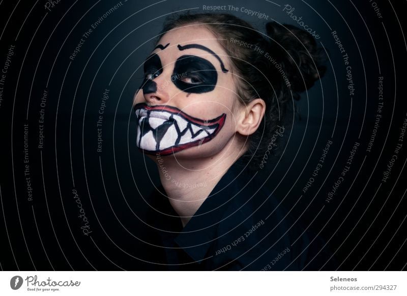 grimace Feasts & Celebrations Carnival Hallowe'en Human being Face 1 Creepy Fear Painted Bodypainting Colour photo Interior shot Copy Space left