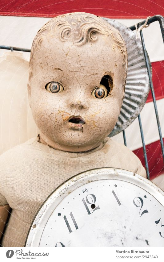 Old vintage doll with damaged face Hallowe'en Baby Creepy Retro Crazy Fear huge scary dirty old broken head dolls portrait spooky Background picture Vintage