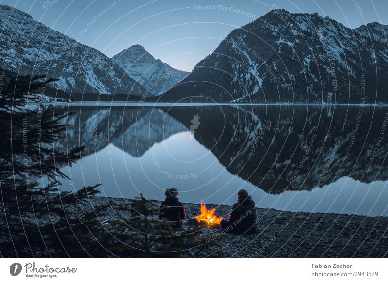 Lake campfire Freedom Mountain Couple Adults 2 Human being Nature Landscape Water Alps Snowcapped peak Lakeside Plansee Austria Moody Happy Adventure